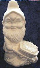 Ready to Paint Ceramic Bisque - Large Garden Gnome with wheelbarrow