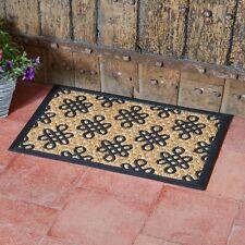 Floral pattern Natural Coir Rubber Doormat Outdoor Door Mat 60x40cm