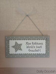 Grey Star World's Best Teacher Gift Plaque End of Term Handmade Sign Present