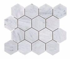 IN STOCK: Carrara Marble (Hexagon) Mosaic Tile: 73mm - per M2