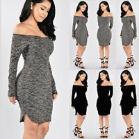 Autumn Winter Sexy Women's Knitwear Long Sleeve Knit Bodycon Sweater Mini Dress