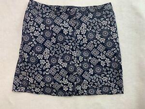 Karen Scott Womens Blue White Floral Stretch Pull On Straight Skort Size 12