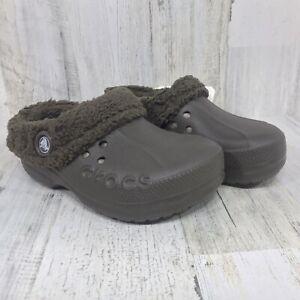 CROCS Blitzen Polar Kids Clog Shoes - Choco/Brown - Size J1 - Sherpa Lined - NWT