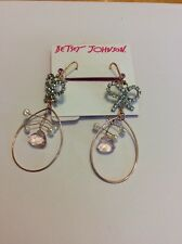 $35 Betsey Johnson Bow & Faux Pearl Orbital Euro Write Earrings #A116a