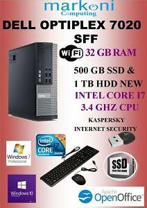DELL OPTIPLEX 7020 - I7- 3.4 GHZ, 32 GB RAM,500 GB SSD,1 TB SATA HDD, WIN 10 PRO