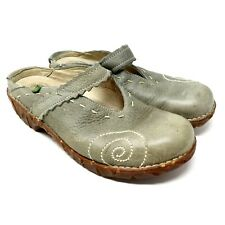 EL Natura Lista Green Leather Mary Jane Yggdrasil Ng96 Mules US 8.5 / EU 39 M