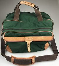 "Vintage 16"" LL BEAN Canvas Leather Green Duffle Gym Carry On Travel Luggage Bag"