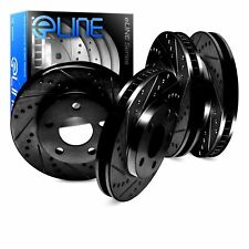 For 2007-2008 Volkswagen Eos Front Rear eLine Black Drill Slot Brake Rotors