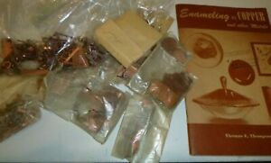 Lot of Vtg Mid Century Copper Jewelry Findings & Shaped Blanks To Enamel + Book