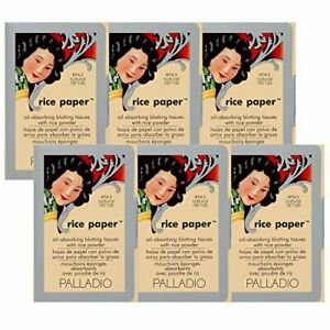 Palladio Rice Paper Tissues Natural 40 Sheets Pack of 6 Face Blotting Sheets ...