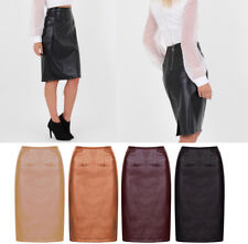 Women Faux Leather Pencil Mini Stretchy High Waist Knee Length Bodycon Skirts UK