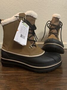 Crocs Allcast 2.0 II Men Size 9 Winter Snow Boot Faux Fur Wheat Black 203394-21A