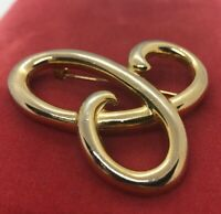 Vintage Fashion Pin Brooch Modernist Swirl Gold Tone
