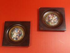 Jolie Paire de Miniature, Peinture, Nature Morte au Bouquet Fleuri. XIXe siècle