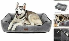 Dog & Cat Bed for Indoor Soft Removable Cover Cushion Medium-(24x18�) Grey