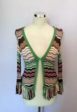 KAREN MILLEN MULTI COLOURED STRIPE V NECK CARDIGAN SIZE 2 UK 10