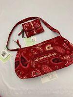 Vera Bradley Rare Mesa Red Pocket Trifold Wallet & Hobo Purse Bag NWT