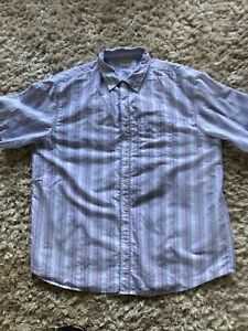 "Cotton Traders Mens 100% Cotton Pastel Striped Short Sleeve Shirt XXL  52"""