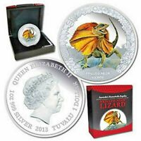 2013 $1 Remarkable Reptiles Frilled Neck Lizard 1oz of .999 Silver Proof Coin