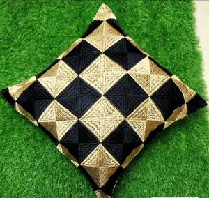 """Set of 2 Cushion Covers with Phulkari Embroidery in Black & Beige16"""" by 16"""""""