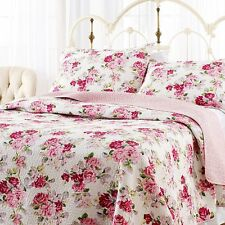 Full Queen Floral Pink Quilt Set 3pc Sham Reversible Machine Wash Bed Room Cover