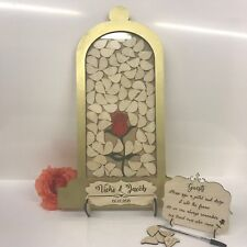 Beauty and the Beast themed gold 55 wedding drop box alternative guest book