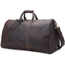 """Men Vintage Leather Overnight Luggage Duffle Gym 17"""" Laptop Travel Shoulder Bag"""