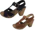 Ladies Shoes Inniu Ashen Black or Tan / Gold T Shape Heels Shoe Size 5-10