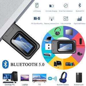 Bluetooth 5.0 Sender Receiver USB Aux Audio Transmitter Adapter Empfänger 3.5mm