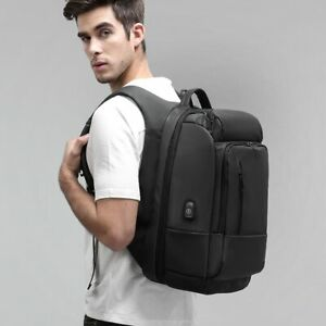 Men Water Repellent Functional Rucksack with USB Charging Port Travel Backpacks