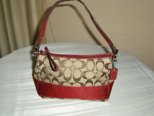 Small COACH Brown/Tan Signature Jacquard & Burgundy Leather Mini Purse/Pouch