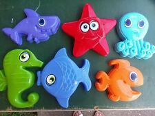 "New 6 pc Plastic Sand Molds Beach Wall Decoration Fish Sea Ocean Octopus 6-8"""