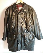 Vintage Bally mens black Italian leather 1970s cinch waist jacket Size 36