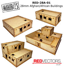 RED-28A-01 - 28mm Wargames - Afghan/African Buildings, Set A (4 buildings)