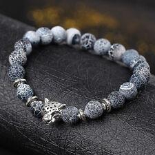 Mens Fashion Black Lava Stone Gold&Silver Lion Beaded Cuff Charm Bangle Bracelet
