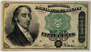 FR. 1381 50 FIFTY CENTS FIFTH ISSUE FRACTIONAL CURRENCY NOTE