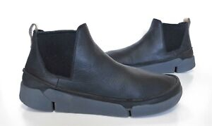 Ladies CLARKS TRIGENIC Black leather Chelsea style ankle boots Size UK 6 D Exc
