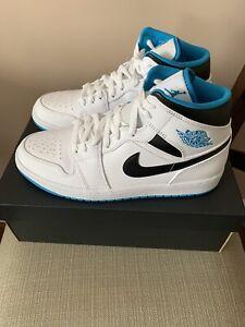 Nike Air Jordan 1 Retro Mid Laser Blue White Black 554724-141 Size 10 Men's NEW