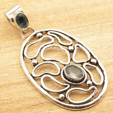 """Facetted APATITE 2 Stone Pendant 2""""! Silver Plated Metal Jewelry"""