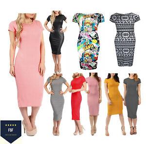 New Women's Ladies Cap Sleeve Midi Dress Bodycon Maxi Midi Dress Plus Size 8-26