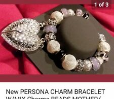 AUTHENTIC PERSONA CHARM BRACELET W/MOTHER DAUGHTER HEART CHARMS BEADS + GIFT BOX