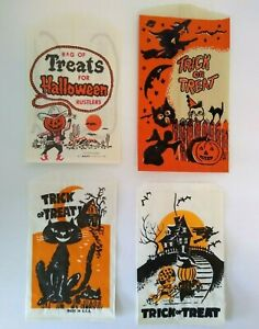 Vintage Halloween Candy Loot Bags Cowboy Goblin Black Cats Witch Trick Or Treat