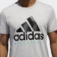Adidas Men's Basketball Graphic Tee Shirt Grey Black Blue DN4119 MSRP $25 Large