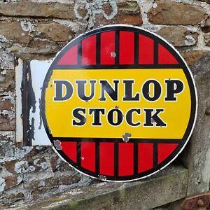 Vintage Dunlop Stock Enamel Advertising Sign Automobilia Tyres Motors Garage