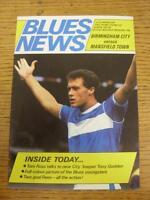 25/08/1986 Birmingham City v Mansfield Town [Football League Cup] (Light Fold).