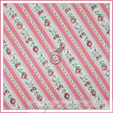 BonEful Fabric FQ Cotton Quilt Pink White Rose Ticking Flower Stripe Paris Bebe