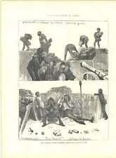 1871 incisioni rivoluzione nel Comune di Parigi BATTERIA GAMINS Riparazione BARRICATA