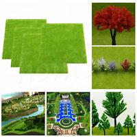 4pcs/set Model Train Layout Green Grass Mat 25x25cm HO Scale Scenery Turf Decor
