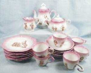Kewpie Tea Set Rose O'Neill Wilson Germany Pink 21 Piece Childs Toy Antique