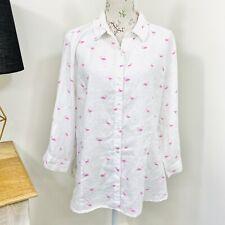 W Lane Womens Linen Shirt Flamingo Print White Button Front Size 18 20